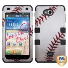 LG Spirit 4G Baseball-Sports Collection/Black Hybrid Phone Protector Cover