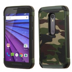 Motorola Moto G 3rd Gen Camouflage Green Backing/Black Astronoot Case