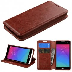 LG Leon H345 Brown Wallet with Tray