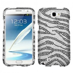 Samsung Galaxy Note 2 Black Zebra Skin Diamante Case