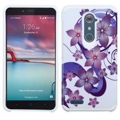 ZTE Grand X Max 2 Purple Hibiscus Flower Romance /White Advanced Armor Case