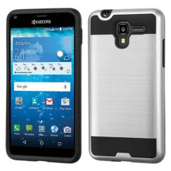 Kyocera Hydro Reach / Hydro View Silver/Black Brushed Hybrid Case