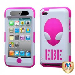 Apple iPod Touch (4th Generation) Natural Ivory White/Hot Pink AlienHead Hybrid Case