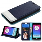 LG Leon H345 Blue/White wallet with Card Slot