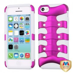 Apple iPhone 5c Titanium Solid Hot Pink/Solid White Ribcage Hybrid Case