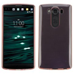 LG V10 Glossy Transparent Rose Gold Candy Skin Cover