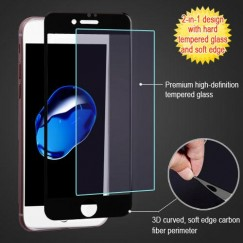 Apple iPhone 7 3D Curved Soft Edge Carbon Fiber Tempered Glass Screen Protector - Black