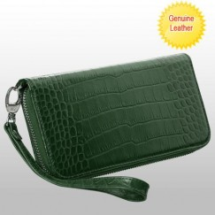 Universal Forest Green Crocodile-Embossed Genuine Leather Wallet