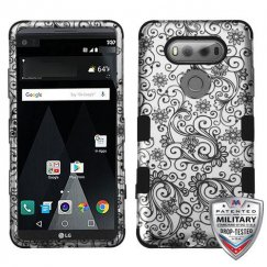 LG V20 Black Four-Leaf Clover 2D Silver/Black Hybrid Case