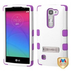 LG Escape 2 Natural Ivory White/Electric Purple Hybrid Case with Stand