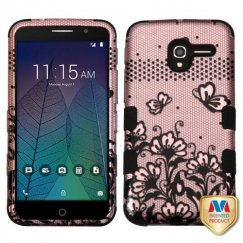 Alcatel Stellar / Tru 5065 Black Lace Flowers 2D Rose Gold/Black Hybrid Case