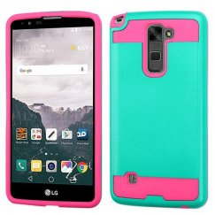 LG LG G Stylo 2 Plus Teal Green/Hot Pink Brushed Hybrid Case