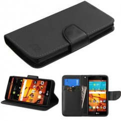 LG LS751 Volt 2 Black Pattern/Black Liner wallet with Card Slot
