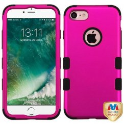 Apple iPhone 8 Titanium Solid Hot Pink/Black Hybrid Case