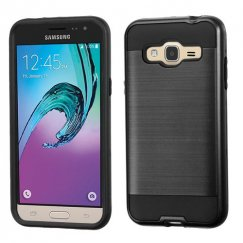 Samsung Galaxy J3 Black/Black Brushed Hybrid Case
