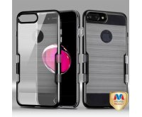 Apple iPhone 7 Plus Metallic Black/Transparent Clear Brushed Panoview Hybrid Case