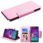 Samsung Galaxy Note 4 Pink Book-Style Wallet (with card slot)