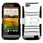 HTC One V White/Black Advanced Armor Stand Case