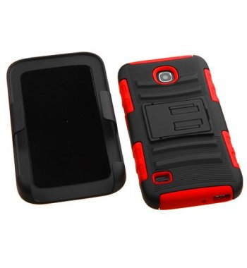 Huawei Union Y538 Black/Red Advanced Armor Stand Case with Black Holster