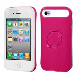 Apple iPhone 4/4s Hot Pink/White Back Case with Ring Stand