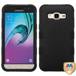 Samsung Galaxy J3 Rubberized Black/Black Hybrid Case