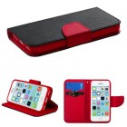 Apple iPhone 5c Black Pattern/Red Liner Wallet (with card slot)
