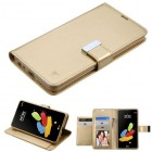 LG G Stylus 2 Gold/Gold PU Leather Wallet with extra card slots