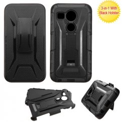 LG Nexus 5X Black/Black Advanced Armor Stand Case with Black Holster