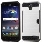 ZTE Grand X 3 / Warp 7 Silver/Black Brushed Hybrid Protector Cover(with Card Wallet)