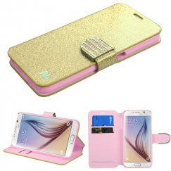 Samsung Galaxy S6 Gold Glittering Wallet with Diamante Belt