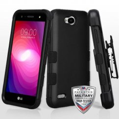 LG X Power 2 Rubberized Black/Black Hybrid Case Military Grade with Black Horizontal Holster