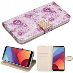 LG G6 Fresh Purple Flowers Diamante Wallet with Diamante Belt