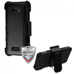 Coolpad Catalyst Natural Black/Black Hybrid Case with Black Horizontal Holster