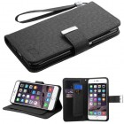 Apple iPhone 6/6s Plus Black D'Lux Wallet with Button Closure