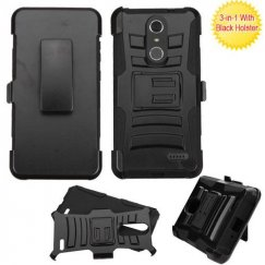 ZTE Grand X 4 Black/Black Advanced Armor Stand Case Combo with Black Holster