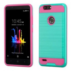 ZTE Blade Z Max / Sequoia Z982 Teal Green/Hot Pink Brushed Hybrid Case