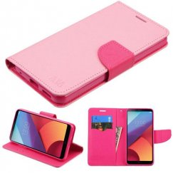 LG G6 Pink Pattern/Hot Pink Liner Wallet with Card Slot
