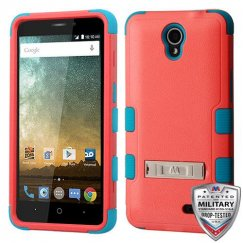 ZTE Prestige 2 Natural Baby Red/Tropical Teal Hybrid Case with Stand Military Grade