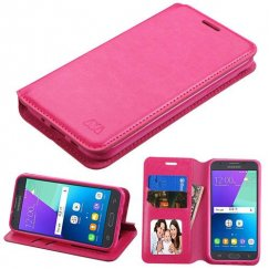 Samsung Galaxy J3 Hot Pink Wallet with Tray