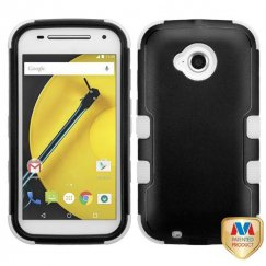 Motorola Moto E 2nd Gen Natural Black/White Hybrid Case