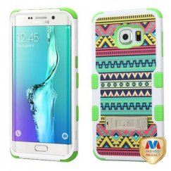 Samsung Galaxy S6 Edge Plus Tribal Sun/Electric Green Hybrid Case with Stand