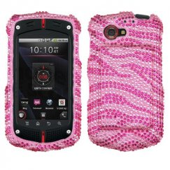 Casio GzOne Commando 4G LTE Zebra Skin (Pink/Hot Pink) Diamante Case