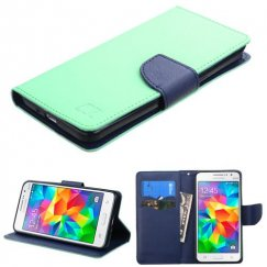Samsung Galaxy Grand Prime Teal Green Pattern/Dark Blue Liner wallet with Card Slot