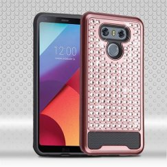 LG G6 Rose Gold/Iron Gray Diamante FullStar Case