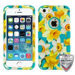 Apple iPhone 5/5s Spring Daffodils/Tropical Teal Hybrid Case Military Grade