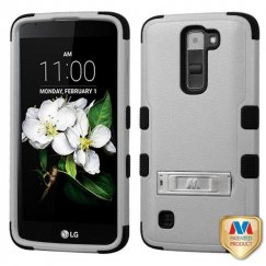 LG K7 Natural Gray/Black Hybrid Case with Stand
