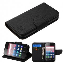 Alcatel Pixi 4 (3.5) Black Pattern/Black Liner wallet with Card Slot