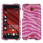 HTC Droid DNA Zebra Skin (Pink/Hot Pink) Diamante Case