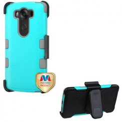 LG V10 Natural Teal Green/Iron Gray Hybrid Case with Black Horizontal Holster