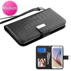 Universal Black Wallet with Wrist Lanyard